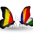 Stock Photo: Butterflies with Belgium and Seychelles flags on wings