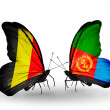 Stock Photo: Butterflies with Belgium and Eritreflags on wings