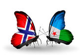 Butterflies with Norway and Djibouti flags on wings — Stock Photo
