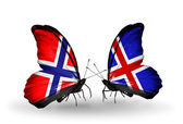 Butterflies with Norway and Iceland flags on wings — Stock Photo