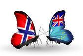 бабочки с флагами норвегии и тувалу на крыльях — Стоковое фото