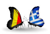 Butterflies with Belgium and Greece flags on wings — Stock Photo