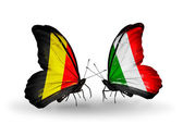 Butterflies with Belgium and Italy flags on wings — Стоковое фото