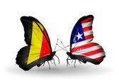 Papillons avec des drapeaux de belgique et le liberia sur les ailes — Photo