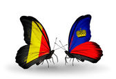 Butterflies with Belgium and Liechtenstein flags on wings — Foto de Stock