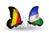 Fjärilar Belgien och uzbekistan med flaggor på vingar — Stockfoto