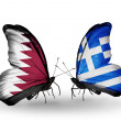 Butterflies with Qatar and Greece flags on wings — Stock Photo #40349559