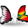 Butterflies with Qatar and Grenadflags on wings — Stock Photo #40349565
