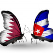Butterflies with Qatar and Cubflags on wings — Stock Photo #40349869