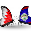 Stock Photo: Butterflies with Bahrain and Belize flags on wings