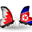 Stock Photo: Butterflies with Bahrain and North Koreflags on wings