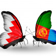 Stock Photo: Butterflies with Bahrain and Eritreflags on wings