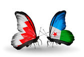 Butterflies with Bahrain and Djibouti flags on wings — Stock Photo