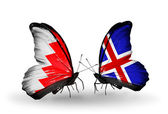 Butterflies with Bahrain and Iceland flags on wings — Stock Photo
