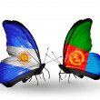 Stock Photo: Butterflies with Argentinand Eritreflags on wings