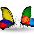 Stock Photo: Butterflies with Columbiand Eritreflags on wings