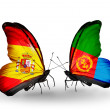 Stock Photo: Butterflies with Spain and Eritreflags on wings
