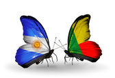Butterflies with Argentina and Benin flags on wings — Stock Photo