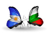 Butterflies with Argentina and Bulgaria flags on wings — Stock Photo