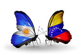 Butterflies with Argentina and Venezuela flags on wings — Stock Photo