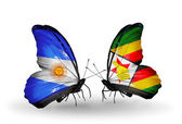 Butterflies with Argentina and Zimbabwe flags on wings — Photo