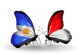 Butterflies with Argentina and Monaco, Indonesia flags on wings — Foto de Stock