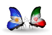 Butterflies with Argentina and Iran flags on wings — Foto de Stock