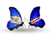 Butterflies with Argentina and Cape Verde flags on wings — Stock Photo