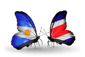 Butterflies with Argentina and Costa Rica flags on wings — Foto de Stock