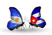 蝴蝶翅膀上的阿根廷和古巴标志 — 图库照片