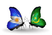 Butterflies with Argentina and Mauritania flags on wings — Stock Photo