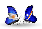 Butterflies with Argentina and Marshall islands flags on wings — Stock Photo