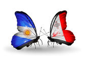 Butterflies with Argentina and Malta flags on wings — Stock Photo