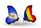 Butterflies with Argentina and Chad, Romania flags on wings — Stock Photo