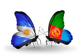 Butterflies with Argentina and Eritrea flags on wings — Stock Photo