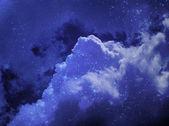 Blue star sky with clouds, — Foto Stock