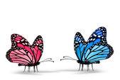 Roze en blauwe vlinder — Stockfoto