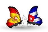 бабочки с флагами испания и куба на крыльях — Стоковое фото