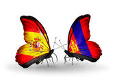 Butterflies with Spain and Mongolia flags on wings — Stock Photo