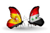 Butterflies with Spain and Syria flags on wings — Stock Photo