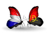 Butterflies with Holland and Angola flags on wings — Stock Photo