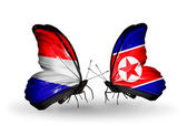 Butterflies with Holland and North Korea flags on wings — Stock Photo