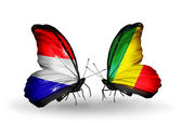 Butterflies with Holland and Kongo flags on wings — Stock Photo