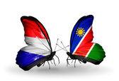 翼にオランダとナミビアのフラグと蝶 — ストック写真