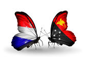 Butterflies with Holland and Papua New Guinea flags on wings — Stock Photo