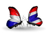 Butterflies with Holland and Thailand flags on wings — Stock Photo