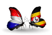 Butterflies with Holland and Uganda flags on wings — Stock Photo