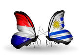 Butterflies with Holland and Uruguay flags on wings — Stock Photo