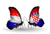 Butterflies with Holland and Croatia flags on wings — Stock Photo