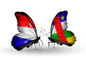 Butterflies with Holland and CAR flags on wings — Stock Photo